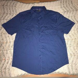 Men's Navy Blue Casual Button Down Sz XL